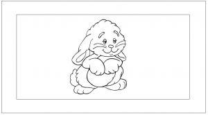 Een blanco kader rond de figuur van een konijntje