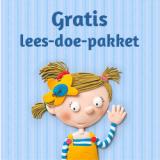 Zwaaiend figuurtje meisje, tekst: Gratis lees-doe-pakket
