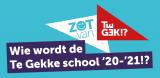 Logo van Te Gek, met de tekst Wie wordt de Te Gekke School 20-21?