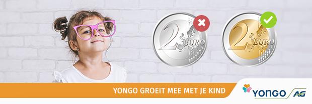 Meisje met grote bril en euromunten. tekst Yongo groeit mee met je kind.