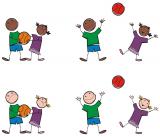 Tekening van sportende kinderen