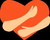 Visual van hart met armen rond