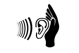 Pictogram van geluid en oor