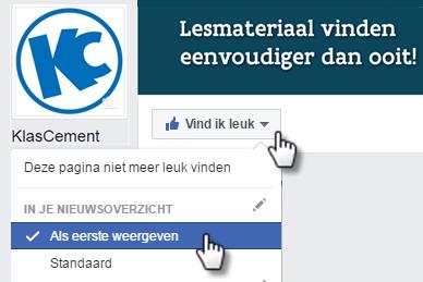 Facebook liken en als eerste weergeven